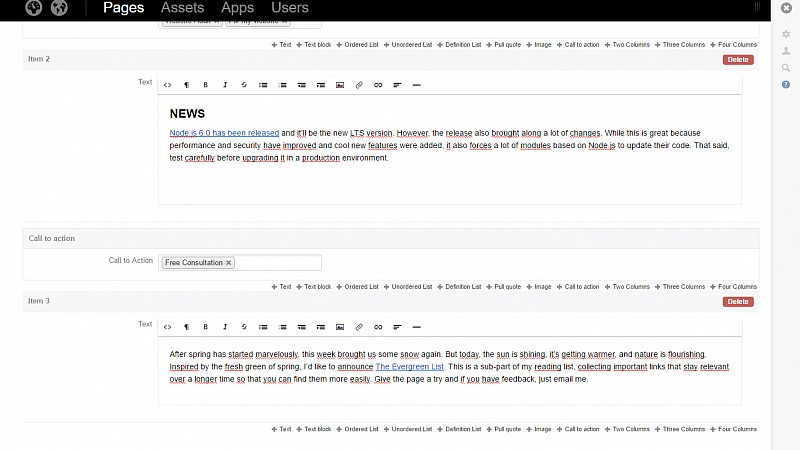 Perch CMS interface - Adding a new blog post